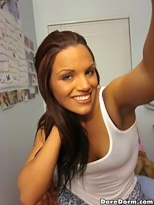 Hot college dorm room webcam babe masturbates and fucks on her webcam for college cash hot real amateur pics